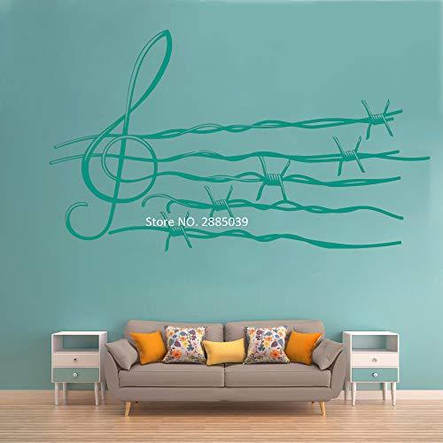 Ajcwhml Stacheldraht Hinweis wandaufkleber Vinyl Aufkleber Musik künstler Wohnzimmer innen Schlafzimmer Wohnzimmer Design Wand 143cm x 84cm