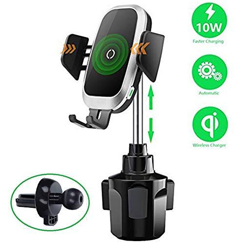Lopnord Qi Wireless Autoladegerät, Universal Getränkehalter Aufladen Auto Montieren Automatische Sensor Einstellbare Getränkehalter Schnellladung Kompatibel mit iPhone 8 X XR XS, Samsung S9 Note8