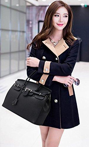 Greeniris PU Leder Handtasche Damen Schultertaschen Shopper Top Griff Tasche Orange Schwarz