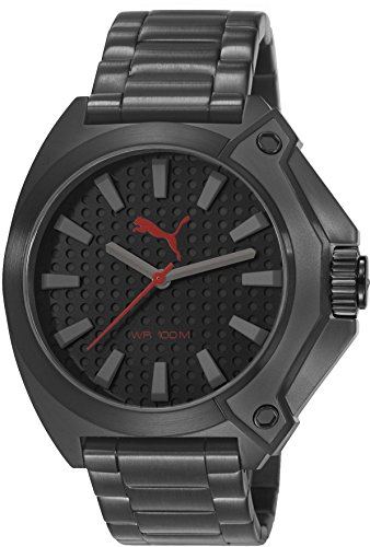 Puma Unisex Zone Quartz Watch with Black Dial Analogue Display and Black Stainless Steel Bracelet PU103811004