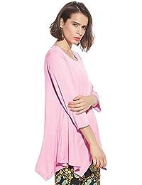 b8c408cf6a9bc T-Shirt Asymetrique Femme Mode Chemise Manche 3 4 Chauve Souris Blouse  Ample Haut Automne Blouse Col Rond Pullover Grand Taille Jersey…