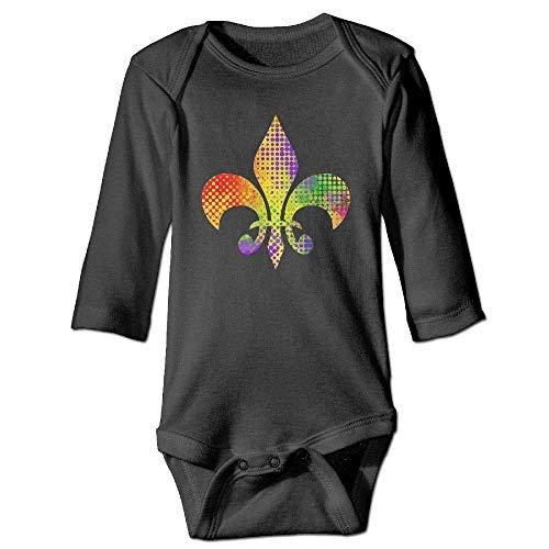 WBinHua T-Shirts für Baby-Jungen,Bertha Fleur De Lis Mardi Gras Baby Unisex Long Sleeve Onesies Bodysuits -