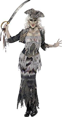 Smiffys, Damen Geisterschiff Ghulina Kostüm, Oberteil, Rock, Jacke und Hut, Größe: M, 38888