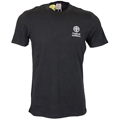 Franklin-Marshall-MF350-Jersey-Round-Neck-Cracked-Crest-Logo-Black-T-Shirt