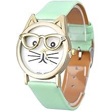 Relojes Pulsera Mujer,Xinan Lindo Vidrios Gato Análogo Cuarzo Dial (Azul)