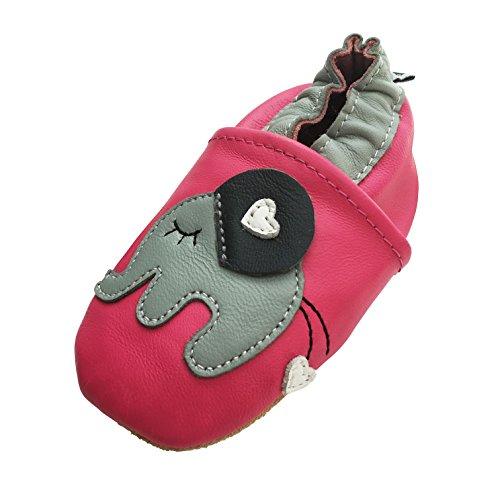 Engel und Piraten Krabbelschuhe Babyschuhe Leder Lauflernschuhe Lederpuschen MARKENQUALITÄT AUS Deutschland viele Modelle (12-18 Monate(Gr.20/21), Elefant Pink)