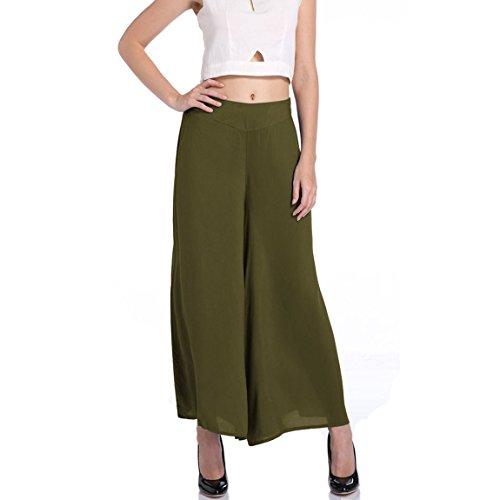 Damen Palazzohose Weite Bein Schlaghosen Gummizug Pants Pumphose Freizeithose Sommer Hosenrock (Gestreifte Leinen-pants)