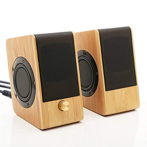 JIEGEGE Mini-Bambus Lautsprecher, AUX-Eingang Stereo-Musik HiFi-Sound Subwoofer Kontrabass USB-Netzteil Haupt- Und Nebenlautsprecher Startseite