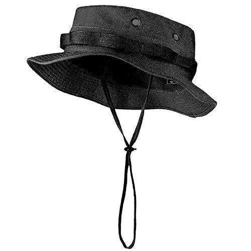 free-soldier-outdoor-uomo-boonie-hat-hiking-camping-secchio-cappelli-sun-cappelli-uomo-black-m-l