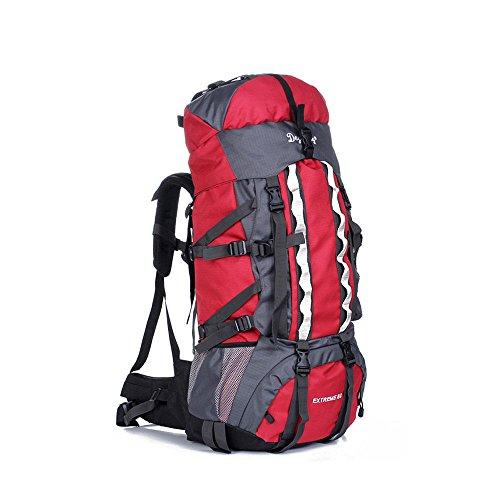 80L Military Tactical Rucksack Molle Rucksäcke Camping Wandern Trekking Tasche rot - rot