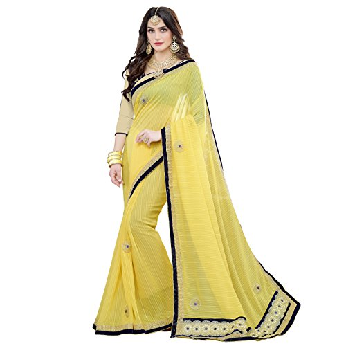 Pramukh Suppliers Georgette Saree With Blouse Piece (_Yellow_Free Size)
