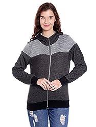 Campus Sutra Womens Plain Sweatshirt(AZW17_ZHFNT_W_PLN_CHGR_AZ_M)