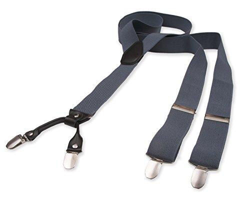 Hosenträger für Herren | Lang | Größe verstellbar bis 125 cm | Extra starke Clips | Y-Form | Echte Leder-Applikationen | Cool & Elegant | In 5 Farben (Klassischen Look-jeans-rock)