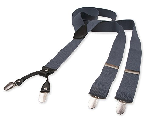 Hosenträger für Herren | Lang | Größe verstellbar bis 125 cm | Extra starke Clips | Y-Form | Echte Leder-Applikationen | Cool & Elegant | In 5 Farben (Jahre Schwarz 60er Leder)