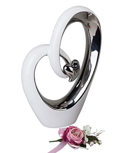 Moderne Herz Skulptur Deko Objekt aus Keramik weiß/silber Höhe 37 cm