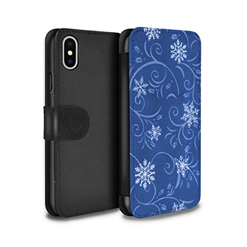 Stuff4 Coque/Etui/Housse Cuir PU Case/Cover pour Apple iPhone X/10 / Rouge Design / Motif flocon de neige Collection Bleu