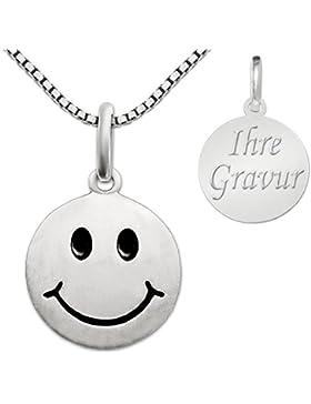 CLEVER SCHMUCK-GRAVUR-SET Silberner Anhänger Smiley rund Ø 12 mm seidenmatt inklusive Wunschgravur auf Rückseite...
