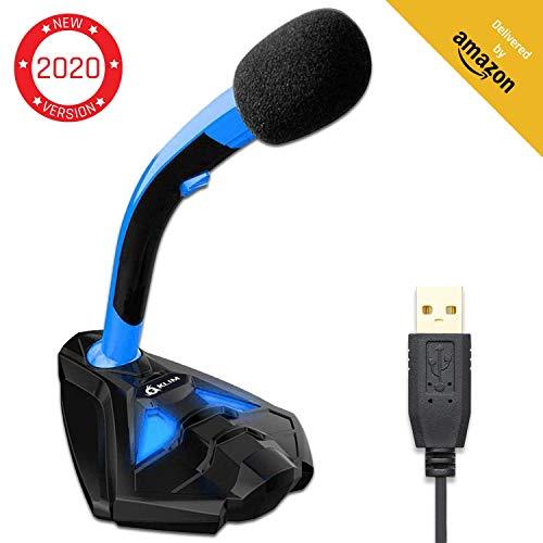 KLIM Voice Desktop USB Mikrofonstand für Laptop Computer - Gaming Mic - Mikrofon PC PS4 Blau [ Neue 2020 Version ]