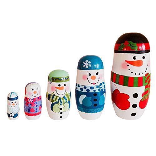 NICEWL 5 Teile/Satz Matroschka-Russische Holznistpuppen, Weihnachten Schneemann Muster, Handgemalte Holz Handarbeit Stapeln Spielzeug, Kind Geburtstagsgeschenke
