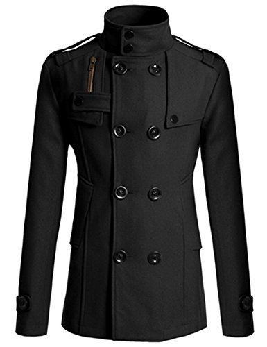 GRACE KARIN Korean Men's Jackets Trench Coat Slim Fit Double Breasted Wool Coat Black Coat S CL4688-1