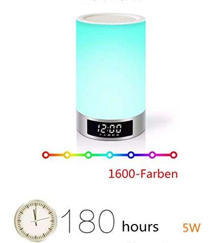 ELINKUME® 1x Bluetooth Lautsprecher und LED Nachtlicht und Lichtwecker / Wake-up Light LED 3W DC 5V Bewegungsmelder Tischleuchte Nachtlicht LED-Tischlampe (7 Dimmstufen) Multi-colored