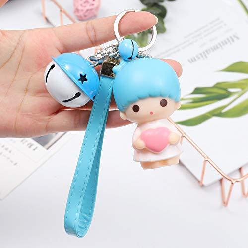 Kreative Cartoon Puppe Schlüsselbund Auto Schlüsselbund Anhänger 75 * 60mm Blaues Lederseil + Baby + Blaue weiße Glocke