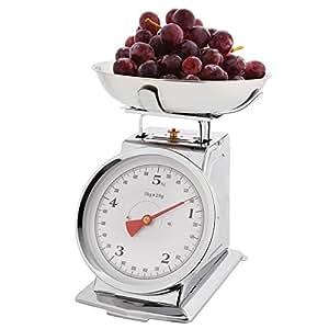 Balance de cuisine - Style rétro - mécanique analogue - en acier inoxydable - Capacité: 5 kg, graduation par 20 g