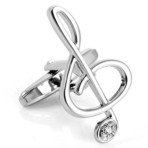 MunkiMix 2 PCS Rhodium Rhodiniert Manschettenknöpfe Silber Musik Zeichen Symbol Hemd Hochzeit Wedding Eheringe Business 1 Paar Set Einzigartig Herren
