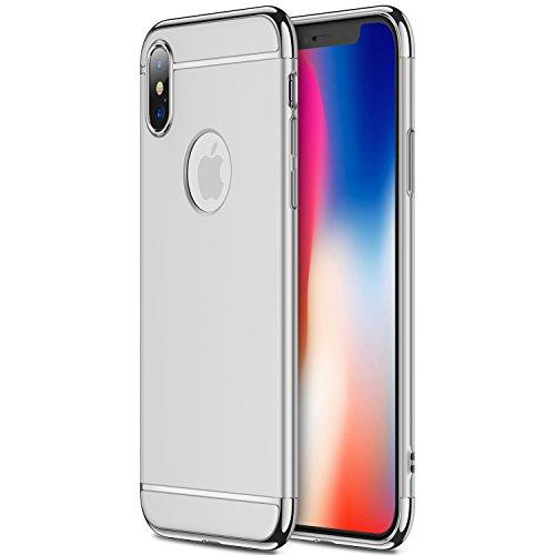 iPhone X Hülle, RANVOO 3-Teilige Dünn Slim Hart Hardcase Styliche Hochwertig Schutzhülle Schale Handy Hülle für Apple iPhone X/iphone 10 Case Cover [Apple Logo sichtbar], Silber