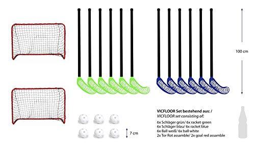 VICFLOOR Hockey Sets 85 (12 Schläger + 6 Bälle + 2 Tore) -
