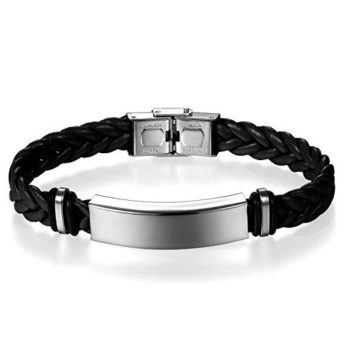 JewelryWe Schmuck Herren Damen Geflochten Leder Armband Armreif mit Edelstahl-Schild Lederarmband schwarz mit Kundenspezifischer Gravur