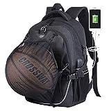 Basketball-Rucksack mit USB-Aufladung, wasserdicht, 39,6 cm (15,6 Zoll) Laptop, mit Ballnetz, Schwarz