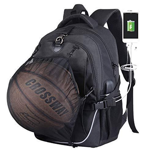 Hejiahuanle Basketballrucksack mit USB-Aufladung, wasserdicht, 39,6 cm (15,6 Zoll) Laptop mit Ballnetz (Nicht im Lieferumfang enthalten), Schwarz