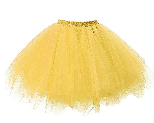Facent Damen Kurz Tutu Rock Tüllrock Tütü Crinoline Minirock Reifrock Unterrock Kleid Tüll Übergröße Gold