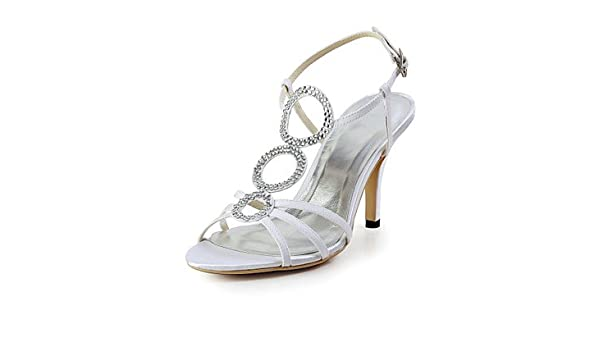 a0daefcb39d8 Bellr V charming Satin Diamond Wedding Shoes Stiletto Sandals With Buckle ( More Colors) Ivory Ivory Size US7.5   EU38   UK5.5   CN38  Amazon.co.uk   Sports   ...