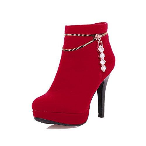 VogueZone009 Donna Cerniera Punta Tonda Tacco Alto Alla Caviglia Stivali con Talismano Rosso