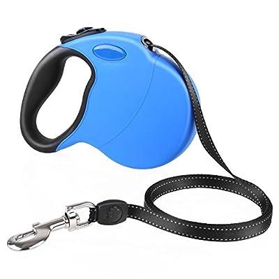 PEDY Roll-Leine Hundeleine Rollleine Einziehbare Führleine, 5 m blau für Hunde bis max. 50 kg Reflektierende Bandschnur für Sicherheit