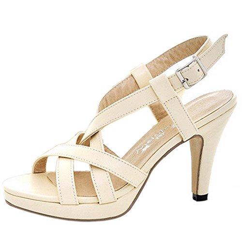 TAOFFEN Femmes Gladiateur Peep Toe Sandales Conique Talons Hauts Strappy Chaussures Beige