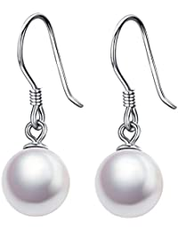 J.SHINE Damen Ohrringe Ohrhänger Perlen Basic Hängende Tropfen 3A 8mm Natürliche Süßwasser Perle 925 Sterling Silber