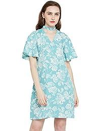 Rare Women Blue Printed A-Line Dress (EP1931-S)