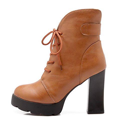 AllhqFashion Damen Eingelegt Hoher Absatz Blend-Materialien Schnüren Stiefel mit Anhänger, Weinrot, 36