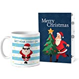TIED RIBBONS Get Your Jingle On Printed Coffee Mug(320 ml) with Greeting Card Christmas Gift Set for Best Friends, Sister, Office Colleague and Office, Home Decoration