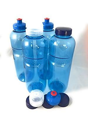 4 x Original Kavodrink Trinkflaschen aus TRITAN 100% ohne Weichmacher im Sparset: 4x1 Liter (rund) + 4 Standarddeckel + 2 Sportdeckel (FlipTop) + 2 Trinkdeckel (Push PULL) Wasserflasche-n Sportflasche-n Weichmacherfrei ohne Weichmacher ohne Schadstoffe BP