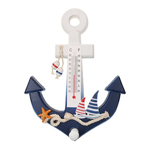 Phenovo Nautical Anchor Wall Hanging Hook Starfish Decor Door Rack with Thermometer  available at amazon for Rs.455