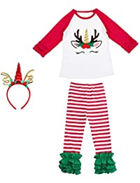 5fa3b631fbcc2 Toddler Little Girls Christmas Long Sleeve Tops Leggings Tight Pants Outfit  Spring Autumn Fall Clothing Xmas Gifts Baby Fancy Dress Up…