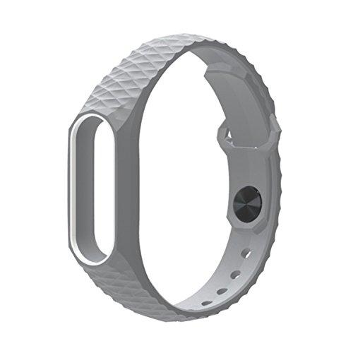 Pulsera Mi Band 2,Correa Mi Band 2 La Smart Band 2 de Xiaomi 3D de Moda Smart Watch Strap Correa para Miband2(Sin Rastreador de Actividad)(Gris Blanco)