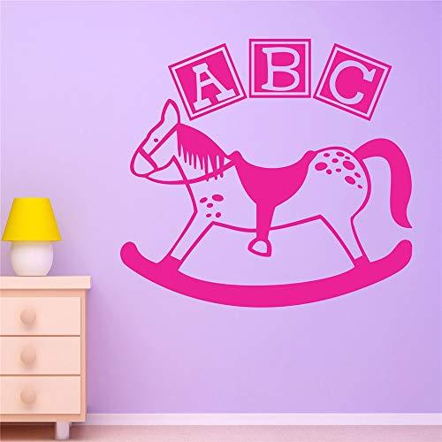 stickers muraux noir et blanc Rocking Horse ABC Baby Nursery pour chambre d'enfants chambre de garçons