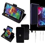 K-S-Trade® Case Schutz Hülle Für -Archos Oxygen 57- + Earphones Handyhülle Flipcase Smartphone Cover Handy Schutz Tasche Walletcase Schwarz (1x)