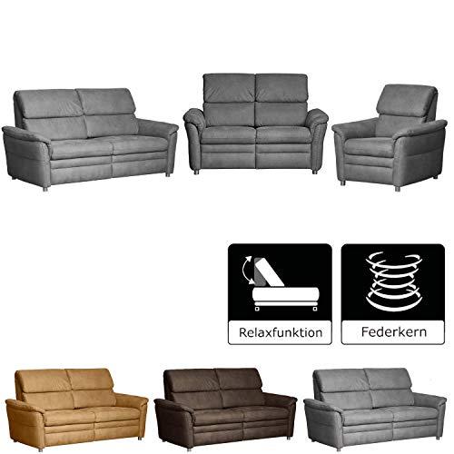 CAVADORE Couchgarnitur Chalsay inkl. Relaxfunktion / 3-Sitzer, 2-Sitzer und Sessel / mit Federkern / moderne Polstergruppe / Sofa 3-sitzig: 179 x 94 x 92; Sofa 2-sitzig: 145 x 94 x 92; Sessel: 90 x 94 x 92 / Grau