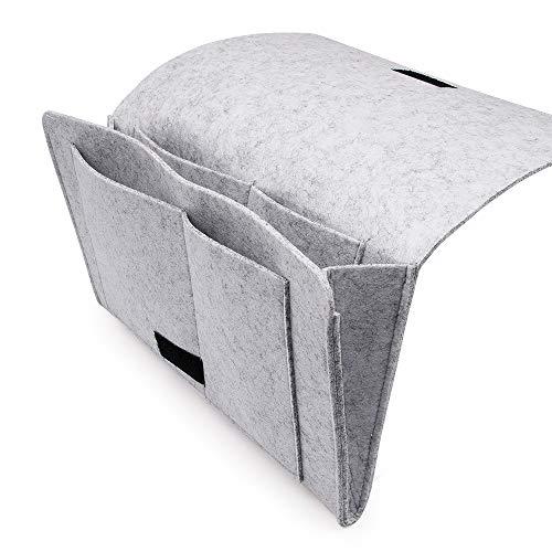 SPECOOL Dicke Filz-Bett-Caddy-Organizer Betttasche Sofa Hängeaufbewahrung für Handy, Tablet, Brille, Buch, Fernbedienung, 5 Taschen & Seitenloch für Aufladungskabel 32 x 22cm Grau